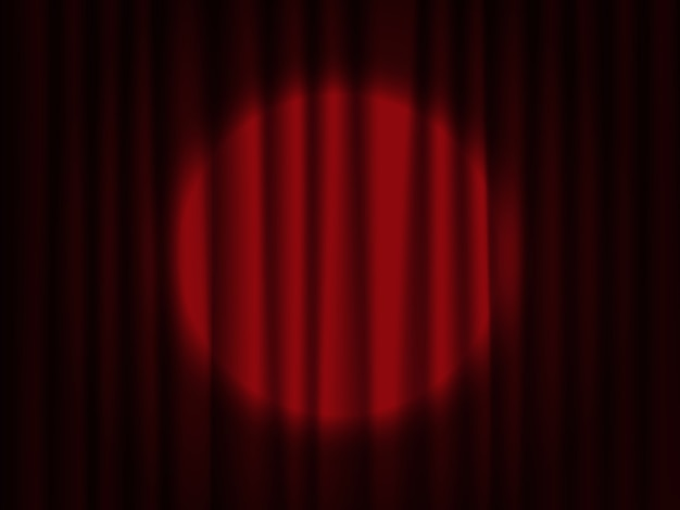 Spotlight on stage curtain. theatrical drapes.
