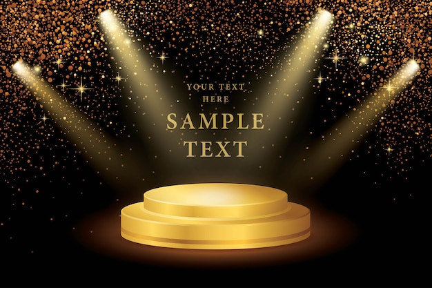 Spotlight on stage and gold glitter vector