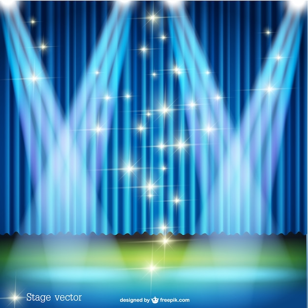 Spotlight stage with sparkling lights