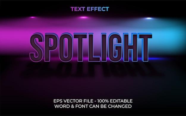 Spotlight text effect neon style editable text effect Premium Vector