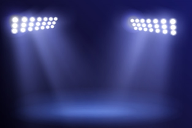Spotlight towers on night stadium in smoke. bright spotlights flash flare in blue fog illustration