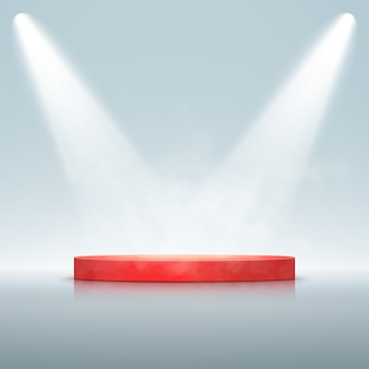 Spotlight with podium isolated. vector glowing light effect with rays