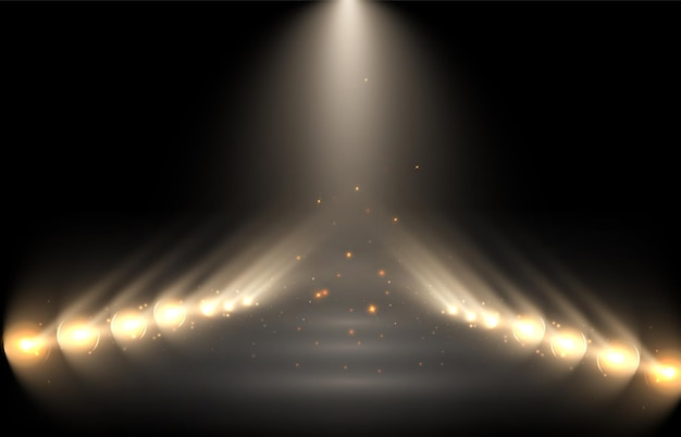 Spotlights background with smoke and sparkles on a black background
