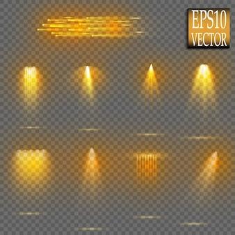 スポットライトコレクション。輝く黄金の光の効果。