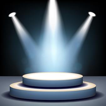 Spotlights illuminated on empty stage