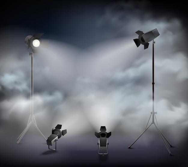 Прожекторы в тумане