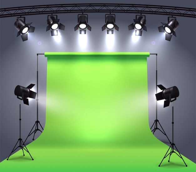 Spotlights realistic composition with photo shooting studio environment chroma key cyclorama surrounded by professional spot lights