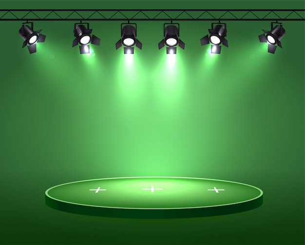 Spotlights realistic composition with set of six spot lights hanging on reel above the circle plot