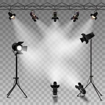 Spotlights realistic transparent background for show contest or interview
