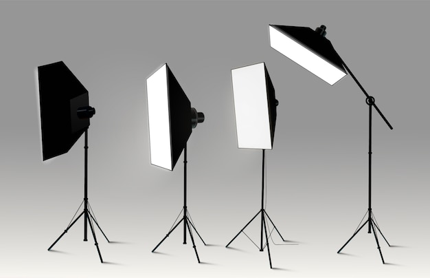 Spotlights realistic transparent background for show contest or interview  illustration