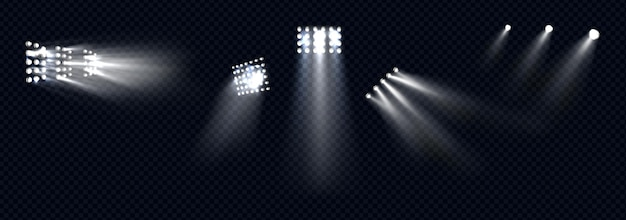 Spotlights, stage light white beams, glowing design elements for studio