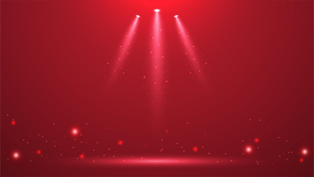 Spotlights on stage with smoke and light vector illustration