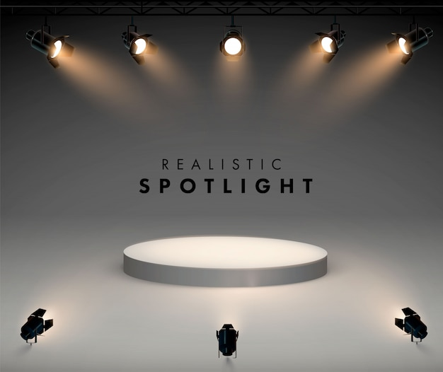 明るい白色光が光るステージセットのスポットライト。照光式フォルムプロジェクター、スタジオ照明用プロジェクターのイラスト下から表彰台まで4つのスポットライトが光ります。