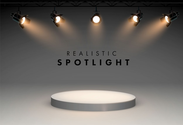 Spotlights with bright white light shining stage  set. illuminated effect form projector, illustration of projector for studio illumination. four spotlights shine from the bottom to the podium.