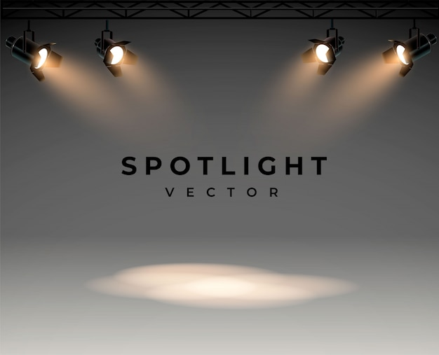 Spotlights with bright white light shining stage  set illuminated effect form projector,  of projector for studio illumination