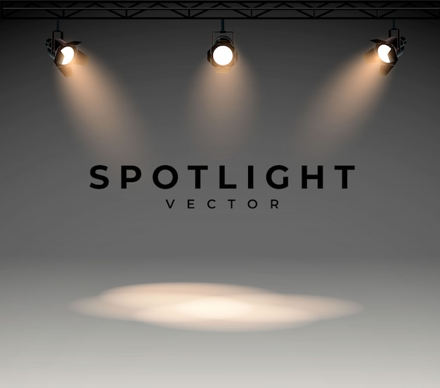 Spotlights with bright white light shining stage.