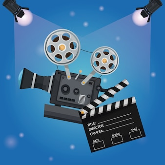 Spotlights with clapperboard and movie film projector