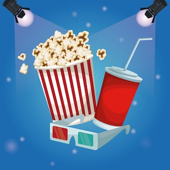 Spotlights with popcorn pack and soda with glasses 3d