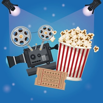 Spotlights with ticket movie and popcorn bucket and film projector