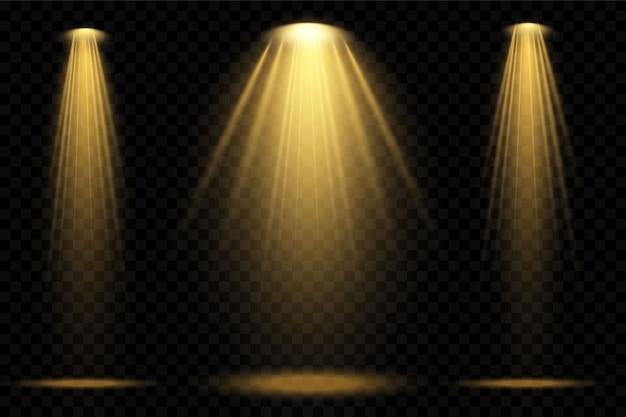 スポットライトは黄色です。シーン。光透過効果。