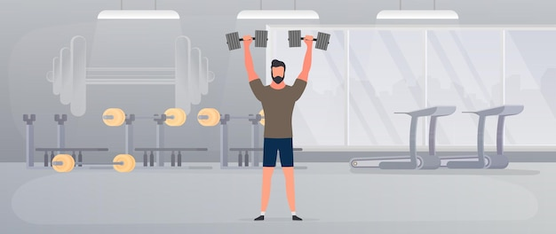 Споцман со штангой в спортзале. мужчина поднимает гантели. понятие спорта и здорового образа жизни. вектор.
