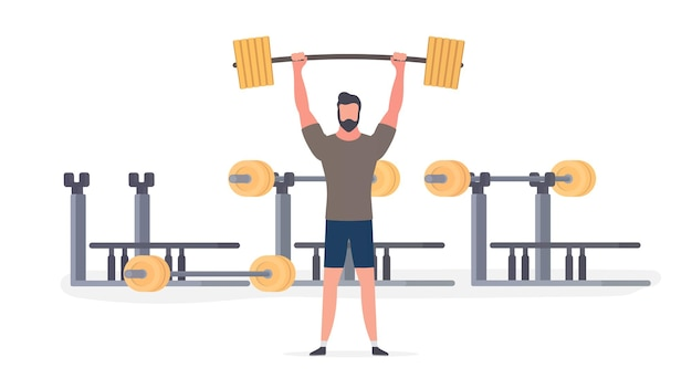 Spotsman with a barbell. a man lifts a barbell. the concept of sport and healthy lifestyle. isolated. vector.
