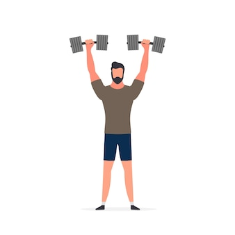 Spotsman with dumbbells. a man lifts dumbbells up. the concept of sport and healthy lifestyle.