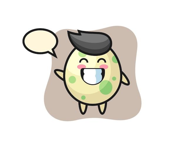 波の手のジェスチャー、tシャツ、ステッカー、ロゴ要素のかわいいスタイルのデザインを行う斑点のある卵の漫画のキャラクター