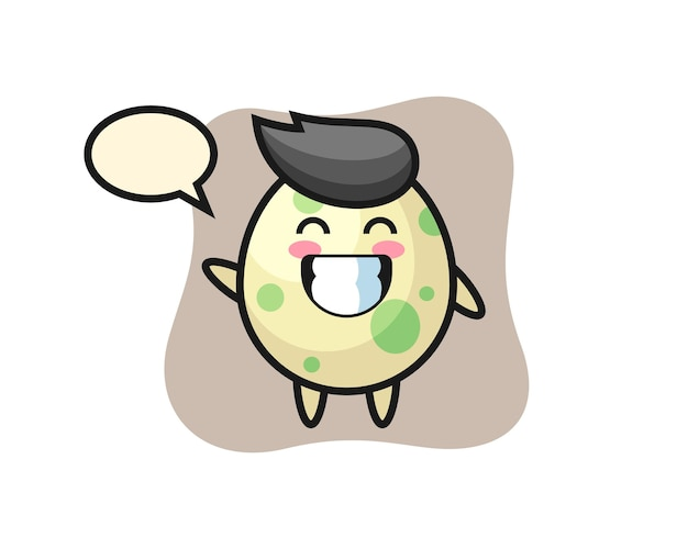 Spotted egg cartoon character doing wave hand gesture, cute style design for t shirt, sticker, logo element