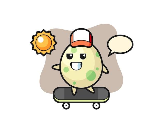 Иллюстрация персонажа в виде пятнистого яйца катается на скейтборде, милый стильный дизайн для футболки, наклейки, элемента логотипа