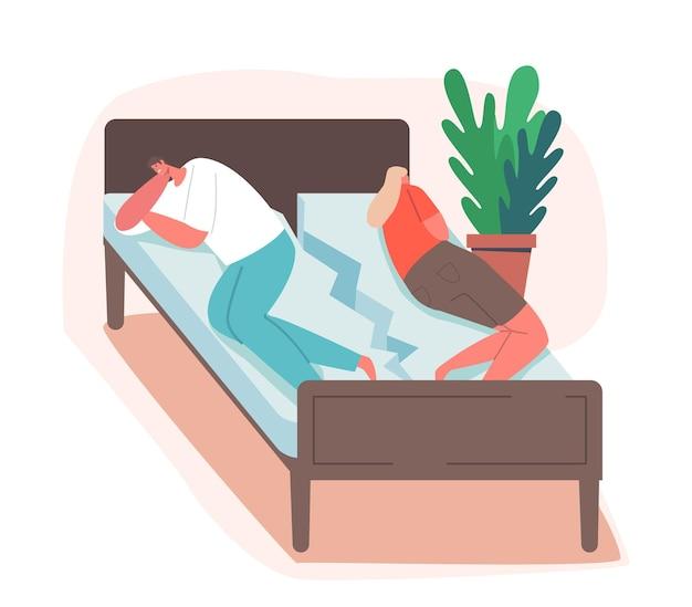 Проблемы с супругом, концепция ссоры. обиженная супружеская пара, лежа спиной к спине на разбитой кровати, чувствует себя плохо из-за споров