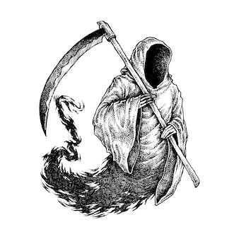 Sppoky grim reaper illustration.