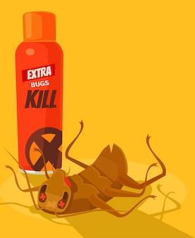 Spray anti insect dead bug, flat cartoon illustration