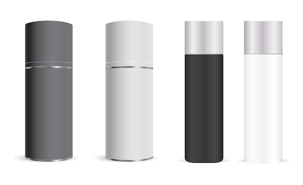 Spray bottle . aerosol can, cylinder deodorant. aluminum metal container blank for freshener. realisit cantiperspirant tin or hairspray tin . metallic tube with plastic cap