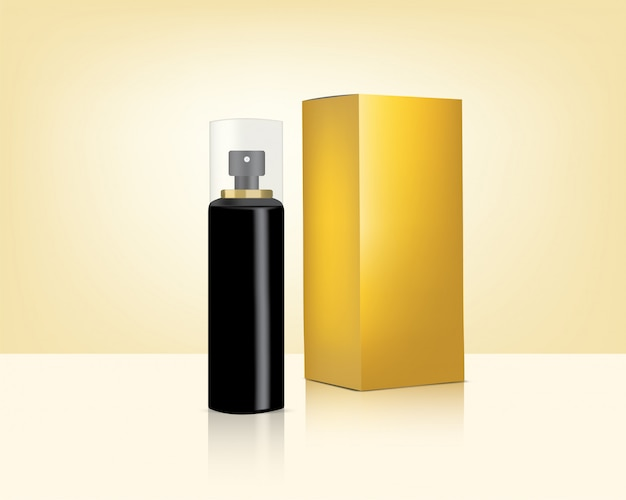Spray bottle mock up realistic gold cosmetic and box for skincare