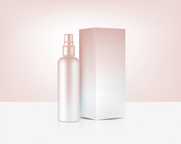 Spray bottle mock up realistic rose gold cosmetic and box for skincare product background illustration