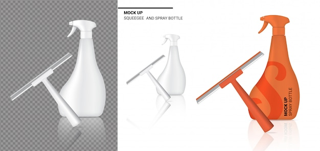 Spray bottle mock up realistic squeegee cleaning object.