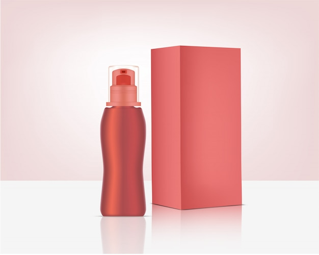 Spray bottle pump mock up realistic organic cosmetic and box for skincare product