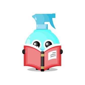 Бутылка с распылителем, читающая книгу, милый персонаж-талисман