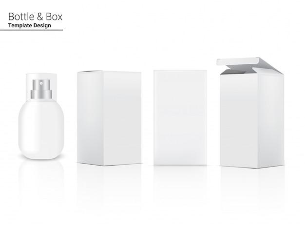 스프레이 병 현실적인 화장품 및 스킨 케어 제품 또는 흰색 배경 일러스트 레이 션에 대 한 상자. 건강 관리 및 의료 컨셉 디자인.