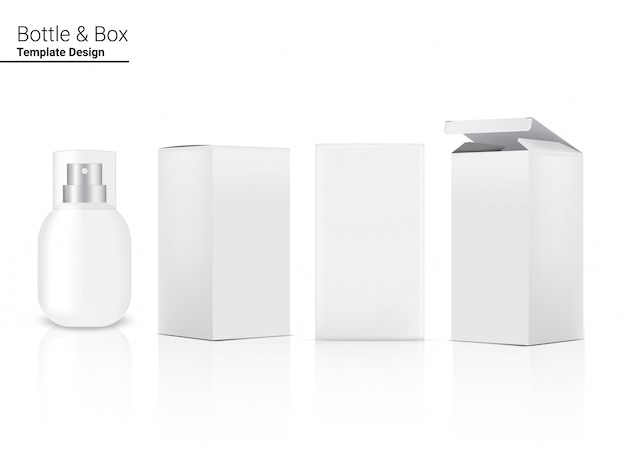 Spray bottle  realistic cosmetic and box for skincare product or medicine on white background illustration. health care and medical concept design.