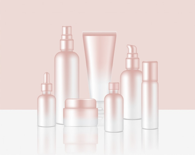Spray bottle realistic rose gold cosmetic soap, shampoo, cream, oil dropper set for skincare product