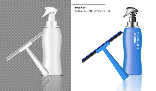 Spray bottle realistic squeegee cleaning object. for household wiper thing