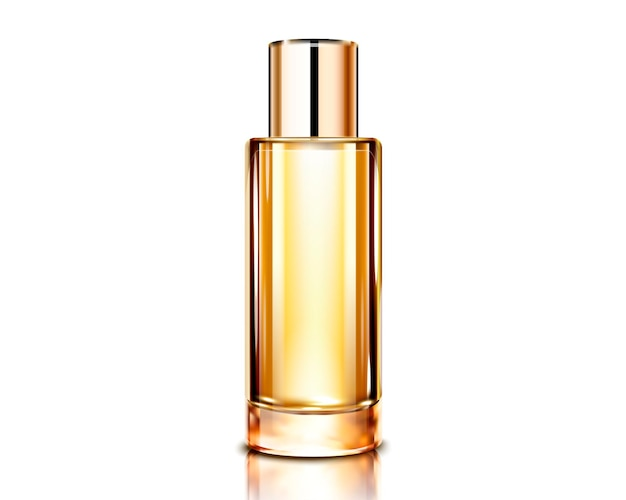 Spray bottle template, golden color cosmetic container