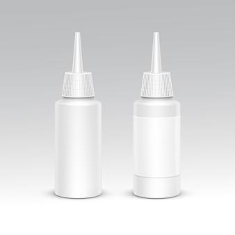 Спрей бутылка белая пластиковая упаковка контейнер set. медицинская косметика. пустой изолированных векторная иллюстрация