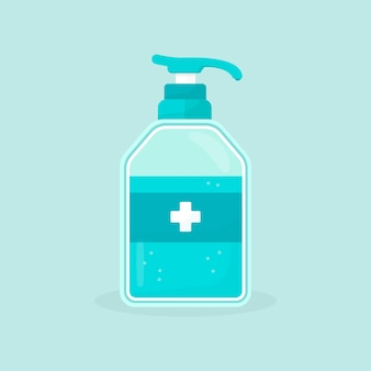Spray bottle with hand sanitizer flat design