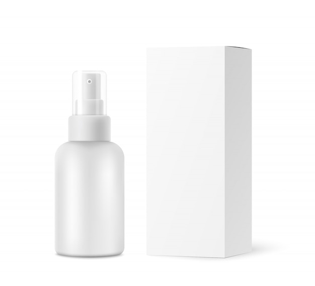 Spray bottle with transparent cap, cardboard box mockup isolated on white
