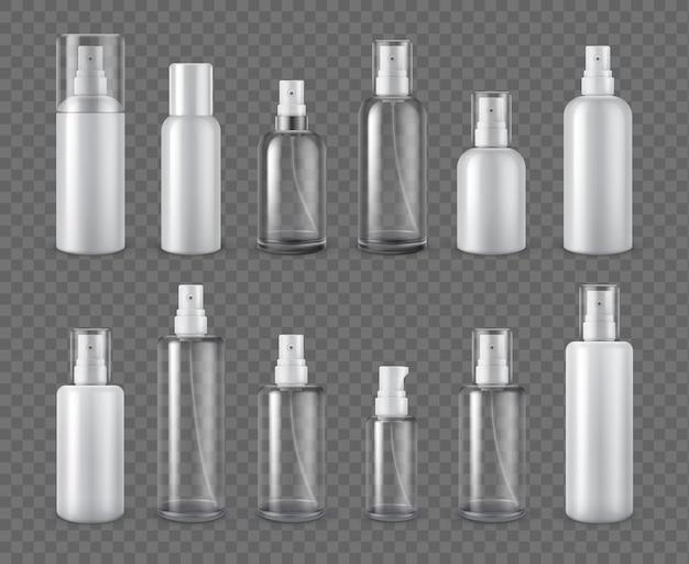 Бутылки с распылителями. реалистичные макеты косметических аэрозолей, дезодорантов или прозрачных бутылок с распылителем. 3d пластиковый дозатор сливок с набором векторных крышек. иллюстрация контейнер косметический аэрозоль и спрей