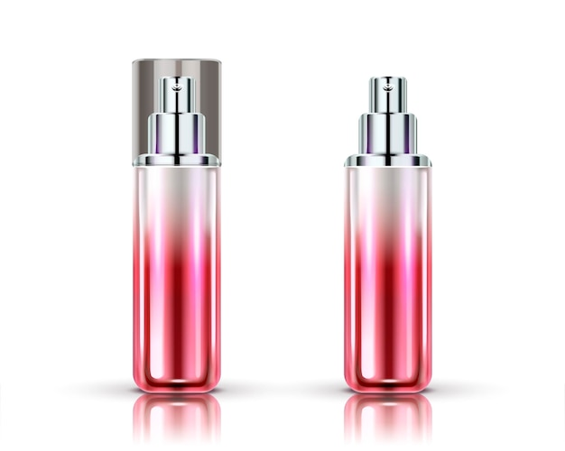 Spray bottles set, gradient red cosmetic container