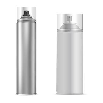 Spray can. aluminum aerosol tube. vector bottle
